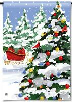 Sleigh Stop Full Of Gifts At Christmas Tree Holiday Small Banner Flag 12.5x18