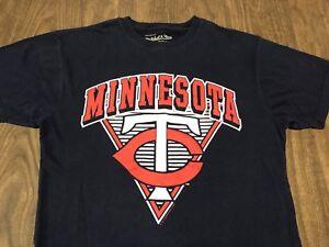 Minnesota-Twins-Retro-Style-Logo-Medium-Navy-Blue-T-Shirt-MLB-Baseball