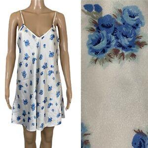 VTG NICOLETTE Nightgown Chemise Slip Dress Blue Roses USA Made Sz M/L