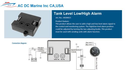 high Alarm  KUS  Adapt to your sending unit Marine Boat Tank Level Low