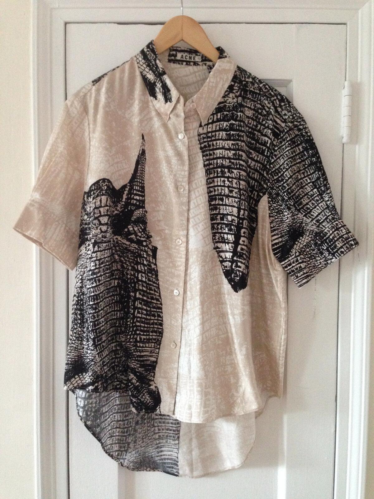 Acne Studios Patia Kroko schwarz   Beige Shirt, SS13, Never worn, Größe 40