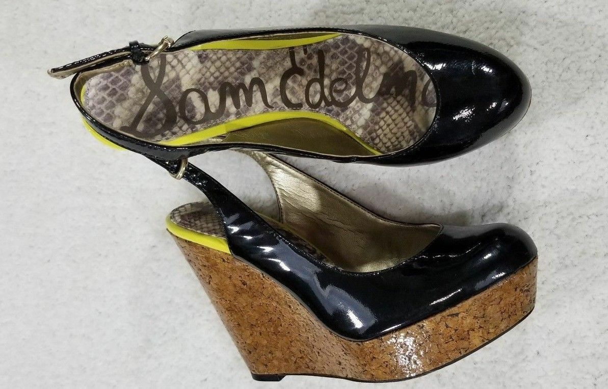 Sam Edelman Mallory Slingback Cork Wedge Heel Sandals Black Women's Size 7.5 M