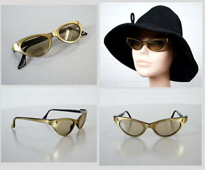edle-Frame-France-Gold-Schwarz-Cat-Eye-Brille-Sonnenbrille-Rockabilly-Ara-50er