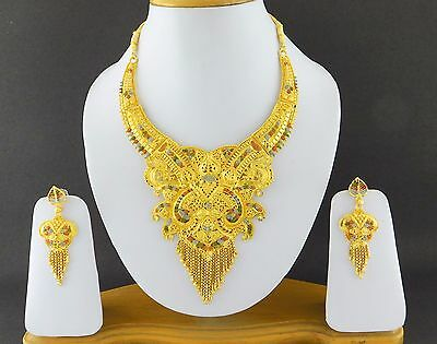 Indian Bollywood Fashion Jewelry Gold Plated Wedding Necklace Earrings Set A12