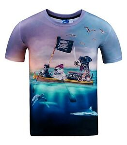 Pirate-animaux-T-Shirt-All-Over-3d-Imprimer-drole-chats-chiens-T-Shirt