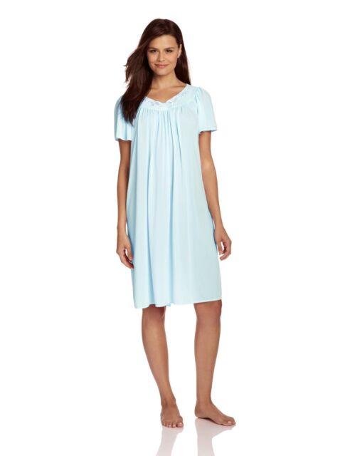5146a1d87d19 Miss Elaine Women s Tricot Short Flutter Sleeve Nightgown 20809 Sea ...