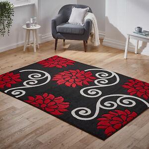 Negro-Rojo-Suave-grandes-modernas-Floral-Flor-de-bajo-coste-Alfombra-Alfombras-Grueso-De-Venta