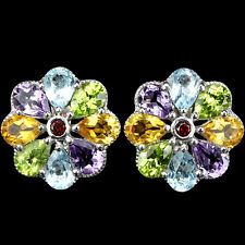 REAL AMETHYST TOPAZ PERIDOT GARNET & CITRINE STERLING 925SILVER FLOWER EARRINGS