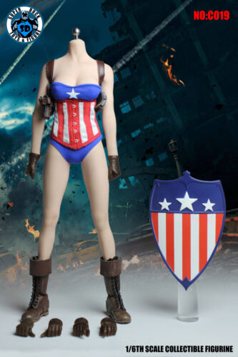 """1//6 Miss Captain America Clothing Shield Set For 12/"""" Phicen Hot Toys Figure USA"""
