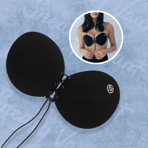 Sneaky Vaunt Strapless Backless Push Up Stick On Bra Black A-DD Cup