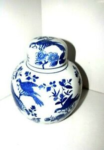 """VTG Ginger Jar by Baum Bros Chinese Blue And White  91/2"""""""