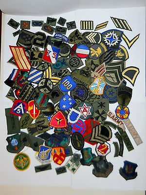HUGE MILITARY PATCH LOT! 100 DIFFERENT COLORED & SUBDUED/ALL BRANCHES/NEW & USED
