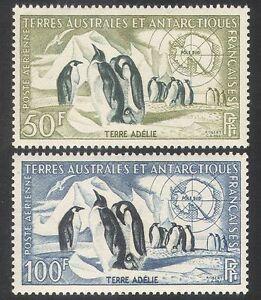 FSAT/TAAF 1956 Emperor Penguins/Petrel/Map/Birds/Nature/Wildlife 2v set (n40069)