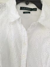 Lauren Ralph Lauren NEW White Womens Size 14 Eyelet Sheath Dress $144