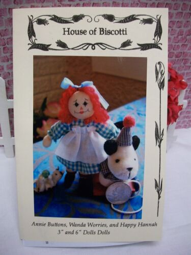 "3"" and 6"" Dolls Doll PATTERN, Annie Buttons, Wanda Worries, Happy Hannah"