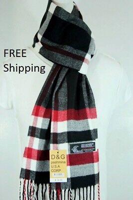 DG Men/'s Winter Scarf Check-Plaid Gray Black.Cashmere--Feel Warm Soft*Unisex