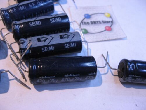 Electrolytic Capacitor Nichicon 470uF 25V Axial Trimmed Formed Leads NOS QTY 8