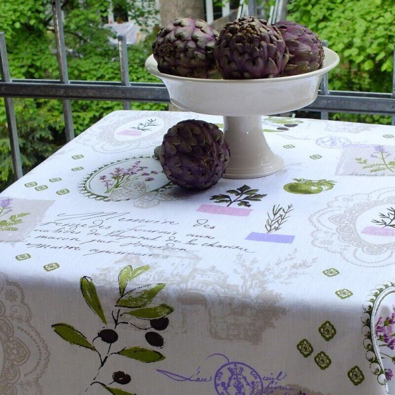 Lin Nappe Lavandula avec fines Provence Herbes & Plantes 100% lin