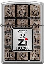 ZIPPO Feuerzeug TABLE OF ELEMENTS Brushed Chrome Elemente Metalle NEU OVP