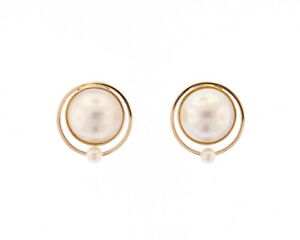 Image Is Loading 14k Yellow Gold 14mm Mabe Half Pearl Stud