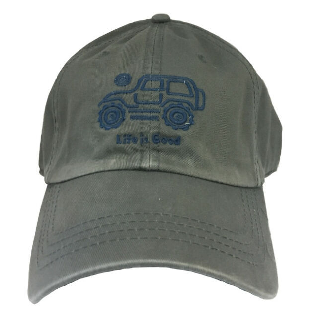 e715a006fe7  RARE  Life is Good Mens NATIVE JEEP Off Road Hat Chill Cap GREY Womens