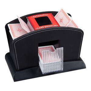 Profi Kartenmischer 4 Decks Poker elektrische Kartenmischmaschine Leder