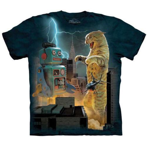 Robot Tee S-5XL Godzilla Kitten Cat Skyscraper T Shirt The Mountain Catzilla VS