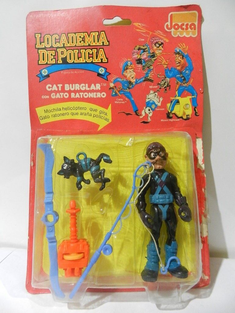 VINTAGE POLICE ACADEMY ACTION FIGURE CAT BURGLAR SEALED IN CARD 1990 JOCSA