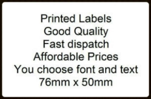 50 Personalised 76 x 51mm White self adhesive labels you choose text