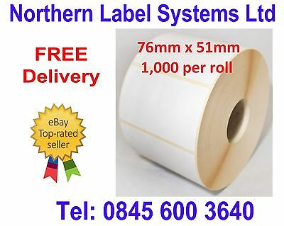 for Zebra Type Printers 1,000 Compatible Zebra 76mm x 51mm White Direct Thermal Labels 1000 Labels per Roll ONE ROLL