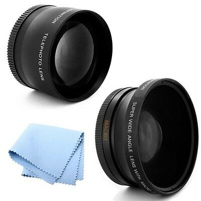 52mm 2X Telephoto and .43x Wide Angle Lens HD Fits Nikon D5200 SLR Camera