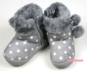 Winter-Snow-Adorable-Casual-Toddler-Girl-Gray-Grey-White-Dots-Suede-Shoes-Boots