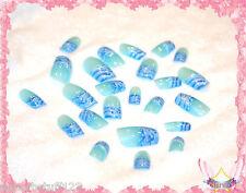 Starsire Blue and White Ocean Wave Japan Acrylic Fake 24 3D Shiny Full Nails