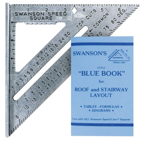 "Swanson SPEED SQUARE antiglare S0101 7"" Layout Tool with Blue Book USA Made"