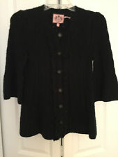 JUICY COUTURE BLACK CASHMERE BLEND 3/4 SLEEVE CARDIGAN SWEATER PETITE RUFFLE