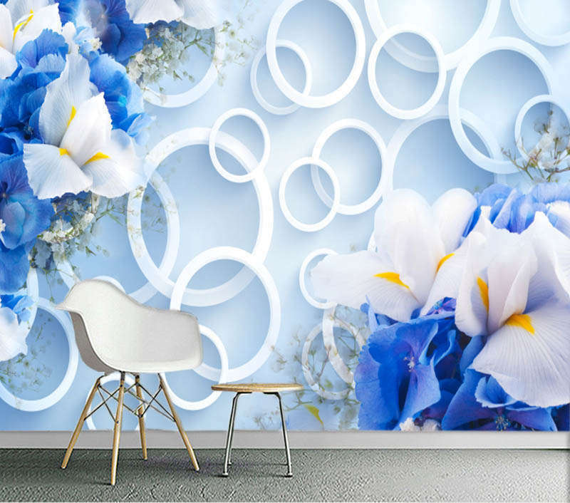 Abalze Blau Lily 3D Full Wall Mural Photo Wallpaper Printing Home Kids Decor