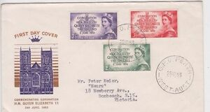Stamps Australia Coronation set 3 issue on Guthrie specific cachet FDC addressed