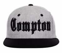 Gray & Black Compton Embroidered Hip Hop Wool Flat Bill Snapback Snap Cap Hat