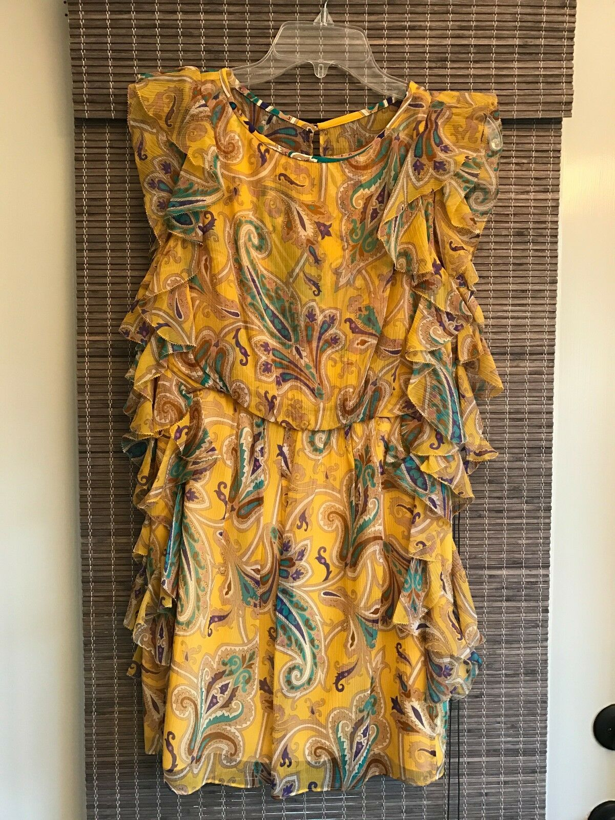 NWT Tibi Yellow Paisley Print Dress, Size 2