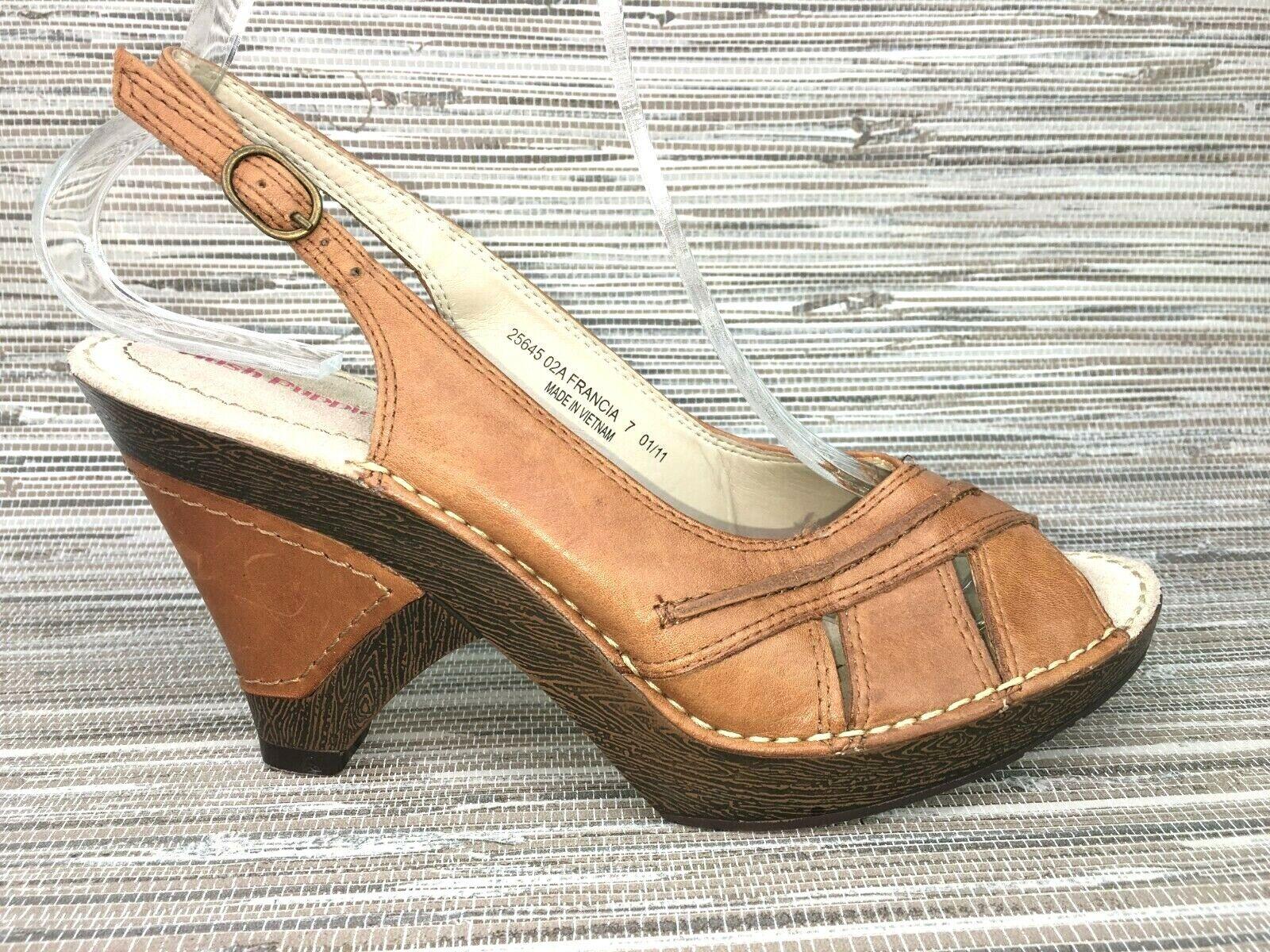 Hush Puppies SIDRA MALIA Ladies Nubuck Leather Slingback Heeled Sandals Tan
