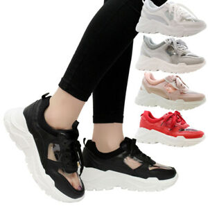 WOMENS CHUNKY WEDGE PLATFORM RUNNING TRAINERS LACE UP COMFY GYM SPORTS SHOES
