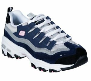 Skechers-Dlites-Navy-Gray-shoe-Women-Sport-Memory-Foam-Casual-Comfort-Soft-13141