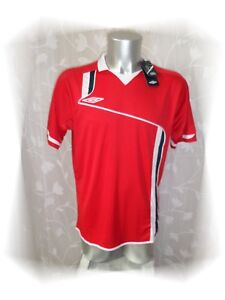 A-Maillot-T-shirt-Rouge-Blanc-Stamford-Jersey-Climatec-Umbro-Taille-L-Neuf