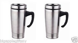 SET of 2 Stainless Steel Insulated Double Wall Travel Coffee Mug Cup 16OZ  NEW!!