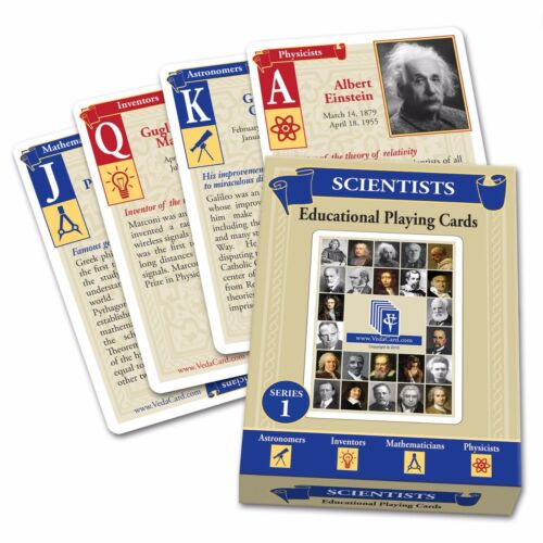 Scientists Educational Blue Playing Cards Brand New