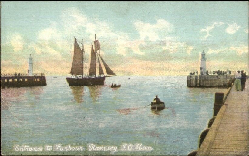 Ramsey Isle of Man Lighthouses c1910 Postcard