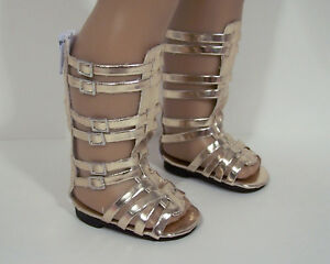 02388027215 GOLD High Top Strappy Gladiator Sandals Doll Shoes For 18