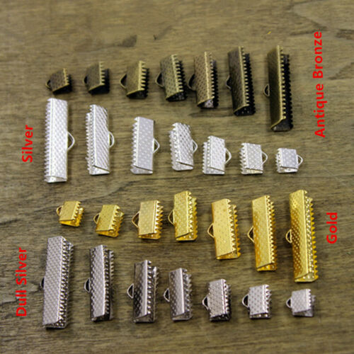 100Pcs Ribbon Crimp End Clip Clamp Cord Cap Tip Necklace Bracelet Connector Hot