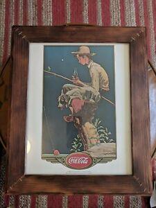 Coca Cola Coke Framed Lithograph - Boy Fishin' Norman Rockwell Americana