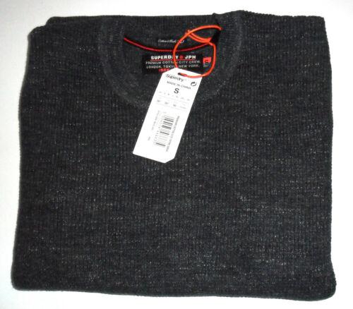 Superdry Mens Premium Cotton City Textured Crew Neck Knit Jumper Indigo Grindle